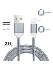 BRAIDED CABLE USBC REVERSIBLE VERS USB REVERSIBLE 1m20 Grey