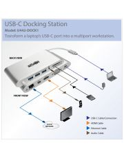 Docking Station USB Type-C vers VGA/HDMI/mDP 3xUSB3.0/GbLAN card RDR