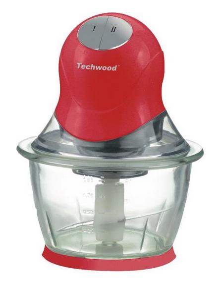 TECHWOOD Mini Hachoir 0,800 ml hachoir amovible Gris/rouge Bol en Verre