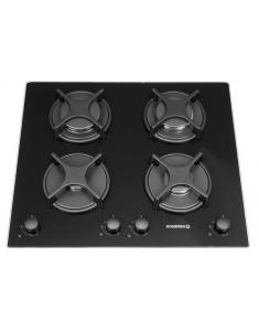 Table de cuisson 60cm 4 gaz dessus verre noir - Table cuisson gaz verre ...
